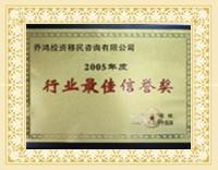 行业最佳荣誉奖